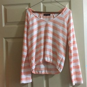 Sanctuary Orange and white striped light sweater